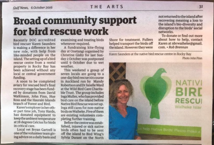 Community support for Bird Rescue